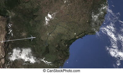 Route of a commercial plane flying to Campinas, Brazil on...