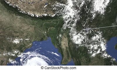 Route of a commercial plane flying to Dhaka, Bangladesh on the map, 3D animation