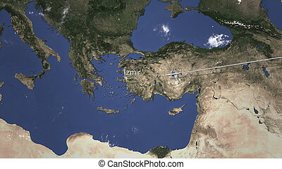 Route of a commercial plane flying to Izmir, Turkey on the map, 3D rendering