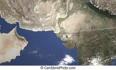 Route of a commercial plane flying to Karachi, Pakistan on the map, 3D rendering