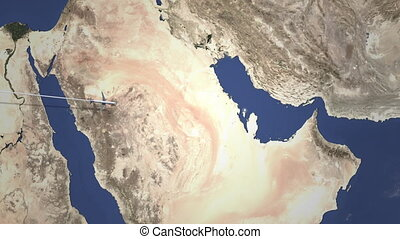 Route of a commercial plane flying to Manama, Bahrain on the...