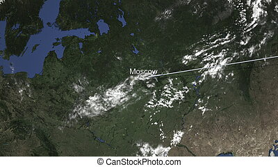 Route of a commercial plane flying to Moscow, Russia on the map, 3D rendering