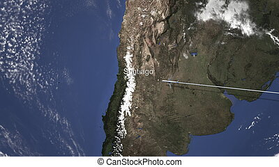 Route of a commercial plane flying to Santiago, Chile on the map, 3D rendering