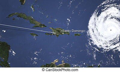Route of a commercial plane flying to Santo Domingo, Dominican Republic on the map. 3D rendering