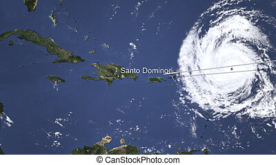 Route of a commercial plane flying to Santo Domingo, Dominican Republic on the map, 3D rendering