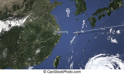Route of a commercial plane flying to Shaoxing, China on the map, 3D rendering