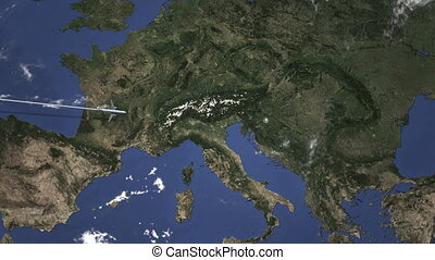 Route of a commercial plane flying to Zagreb, Croatia on the...