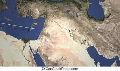 Route of a commercial plane to Baghdad, Iraq from west....