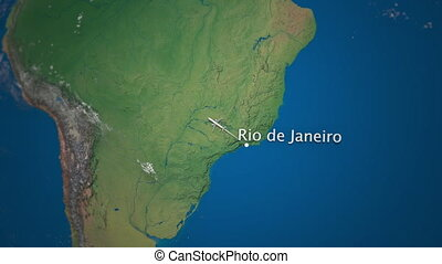 Route of commercial airplane flying from Rio de Janeiro to...