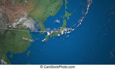 Route of commercial airplane flying to Tokyo on the Earth globe. International trip 3D rendering