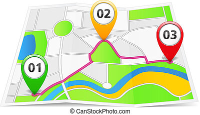 Abstract map with map pins, vector eps10 illustration