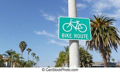route, parcours, sain, oceanside, sécurité, californie, symbole, resort., vélo, style de vie, cyclisme, pacifique, usa., récréation, singpost., signe, bikeway, palm., enseigne, couloir, cycleway, touriste, vélo, vert