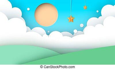 route, paysage, colline, soleil, dessin animé