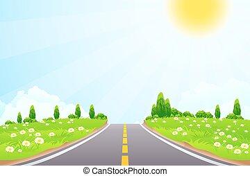 route, paysage vert, arbres