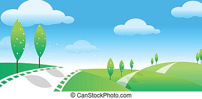 route, paysage, vert