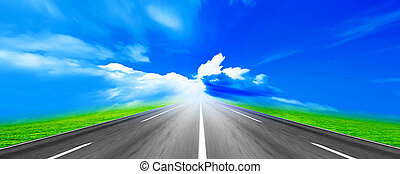 route - country freeway under blue sky