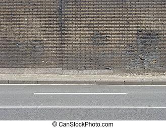 route, porté, beige, carrelé, trottoir, mur, brun