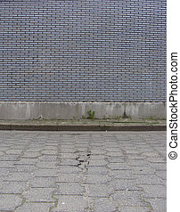 route, porté, carrelé, bleu, trottoir, mur