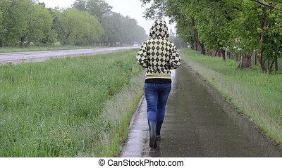 route, promenade, girl, pluie