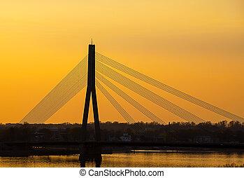 route, rivière, pont, sur, daugava, nuit