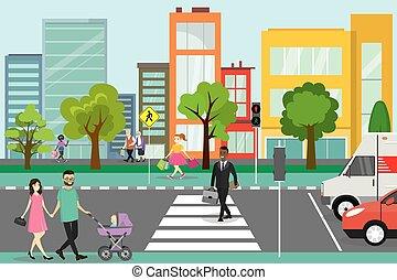 route, rue, transport, piétons, ville