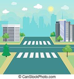 route, sans, rue, urbain, trafic ville, vecteur, highway., paysage, passage clouté, illustration., carrefour
