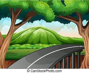 route, scène, montagne