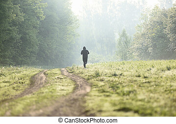 route, serein, printemps, fitness, jeune, matin, courant, forêt, haze., sauvage, aube, paysage, homme