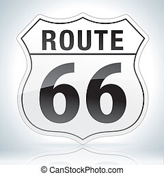 Route Sixty Six Sign - Glossy route sixty six icon on soft...