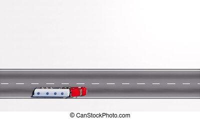 route, sommet, camion, 4k, blanc, pétrolier, boucle, vue