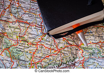 route, stylo, carte