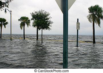 route, submergé