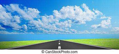 route, sur, exprès, disparaître, horizon