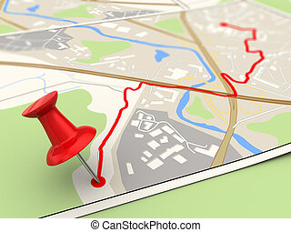 route target - 3d illustration of map with pin in route...