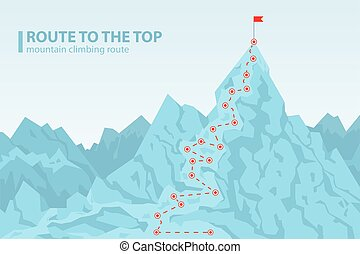 Route to the top mounting climbing vector illustration