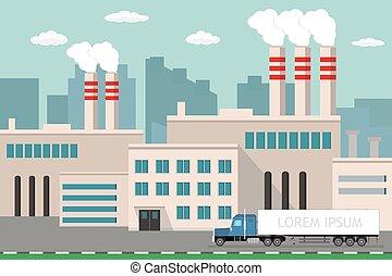 route, usine, vue, fond, industriel, long, camion