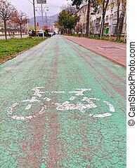 route ville, foyer, vélo, premier plan