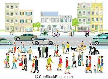 route ville, gens, illustration.eps, trafic