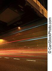 route ville, lumières, soir
