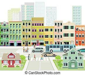 route ville, silhouette, street.eps, trafic, urbain