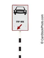 route, voiture, arrêt, isolé, signe, fond, blanc