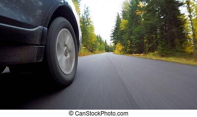 route, voiture, en mouvement, 4k
