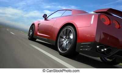 route, voiture, loop-ready, en mouvement, sport, rouges