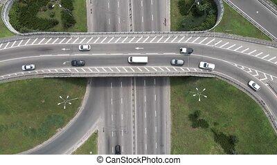 route, voitures, aérien, ukraine, kyiv, vue.