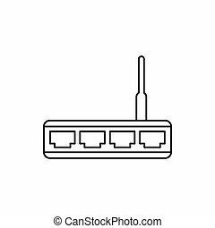 router, ícone, esboço, estilo