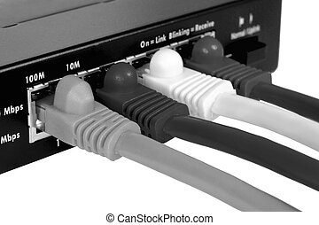 Router and cables. Macro. Isolated on white.
