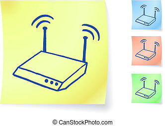 router graphic on sticky note