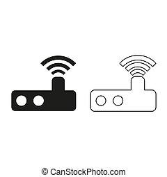 Router - green vector icon