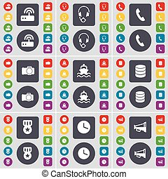 Router, Headphones, Receiver, Camera, Ship, Database, Medal, Clock, Megaphone icon symbol. A large set of flat, colored buttons for your design. Vector