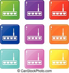 Router icons 9 set